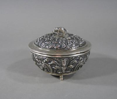 Nice Antique Siamese Thai Repousse Covered Silver Bowl, Elephant Finial,250Grams