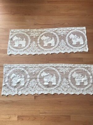 Scottish Terrier Dog Table Runners Mantle Scarf Lace Ivory