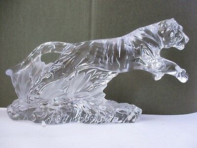 """Lenox Crystal Glass Cat Panther Cougar Lion Figurine - 11"""" Long (14A)"""