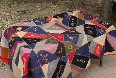 Vintage Antique Red Multi-Colored Embroidered Squares Crazy Quilt Blanket