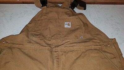Men's Carhartt FR Insulated Bibs 48 x 32 Flame Resistant Overalls FRR44 Brown