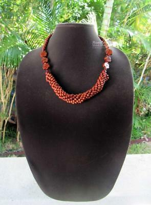 "NEW Koa Wood Bead Honey Brown Lei Matinee 22"" Necklace ~ Hawaii Luau Wedding"