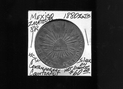 MEXICO 1880-ZsJS Contemporary Counterfit, 8 Reales  VF-XF