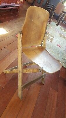 Vintage 1940's US American Seating Co. Grand Rapids, Mi. Wood Folding Chair WWII