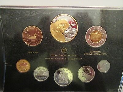 2008 Canada Silver Proof set, 8 coins, Anniversary of Quebec City, gold gild