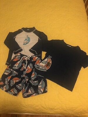 Janie and Jack 2T Swim Trunks Rash Guard Set