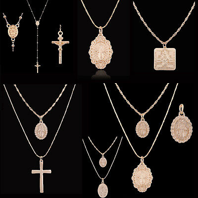 Religious Gold Plated Geometric Rosary Cross Pendant Chain Necklace Jewelry