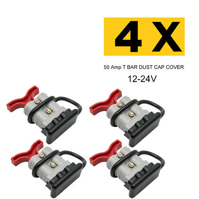 4X 50 Amp Standard ANDERSON PLUG CONNECTORS T-BAR DUST CAP COVER 12-24V