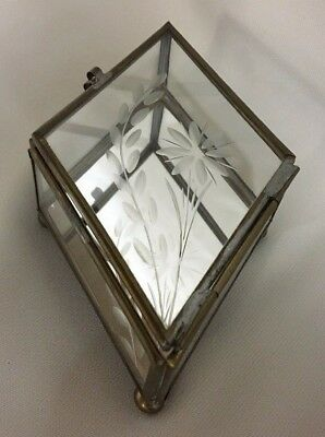 Vintage Brass Glass Etched Table Top Curio Display Case Box Casket Diamond Shape