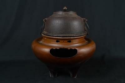 K7240: Japanese XF Old Iron Copper TEAKETTLE Teapot Chagama w/copper lid