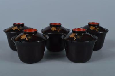K7326: Japanese Wooden Flower gold lacquer pattern SOUP BOWL/dish 5pcs