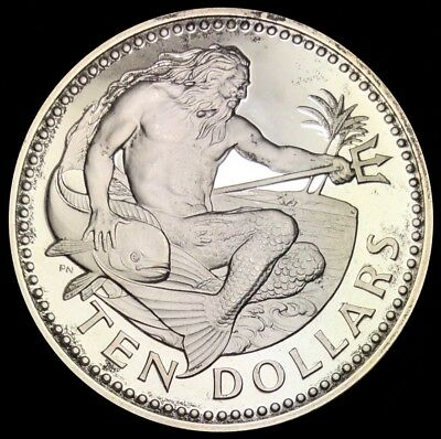 1973 Barbados 10$ Sterling Silver Proof Coin Neptune Dolphin (S115)