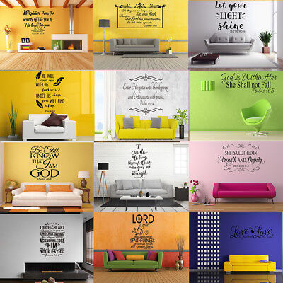 Bible Verse Style Removable Decal Art Mural Wall Sticker Home Room DIY Decor