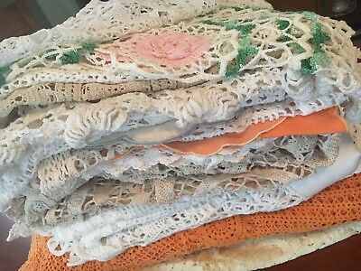 Bulk Lot Vintage Tablecloths & Doilies With Damage For Crafts / Repairs Crochet