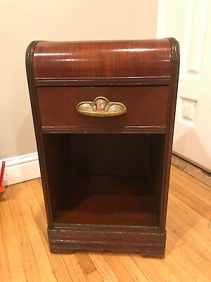 Vintage 1930's  40's ART DECO WATERFALL NIGHTSTAND END TABLE CABINET