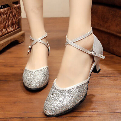 New Women's Glitter Dance Shoes Closed Toe Latin Ballroom Salsa Dancing Shoes