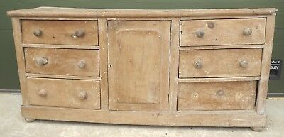 Antique Victorian Solid Pine Country Sideboard Dresser Base, In Need Restoration