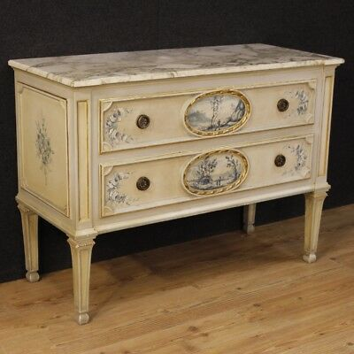 dresser lacquered furniture italian wood painting antique style louis XVI 900