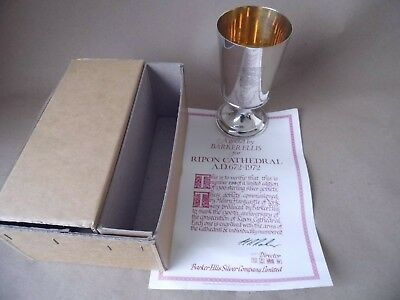 Superb Sterling Silver Ripon Cathedral Goblet 1971, Boxed