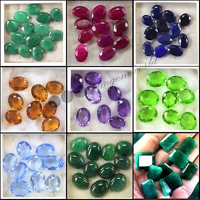 Emerald Ruby Sapphire Topaz Citrine Amethyst Moldavite Gemstone Lot For Sale BD8