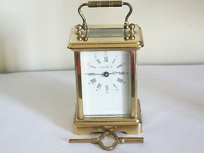 Vintage Brass Carriage Clock London Clock Co Mechanical Key Wind Working