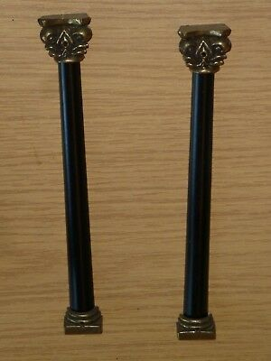 Pair of decorative wood columns from late c20 wall clock