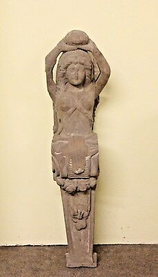"Unusual 41"" Hand Carved Wooden Egyptian Nude Female Gothic Sculpture Plaque"