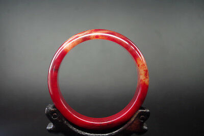 Vintage Chinese Old Natural red blood jade Hand-carved jade bangle ,R-089