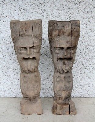 Pair Of Beautiful Hand Carved Wooden Gothic Male Weird Face Beard Carving