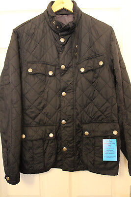 "Barbour International Aerial Mens Small 38"" Black Quilt Bikers Jacket"