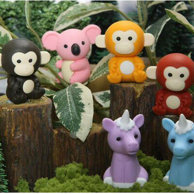 20pcs Cute Mini Animal Rubber Pencil Eraser Children Creative Stationery Kid Toy