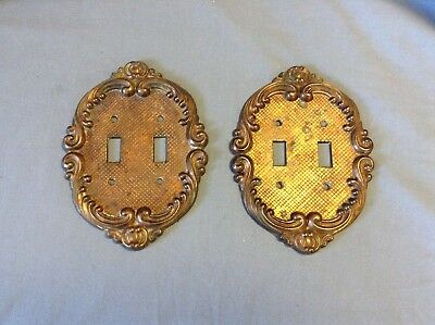 2 Vintage Ornate Brass Metal Antique Scrolled Double Light Switch Plate Cover