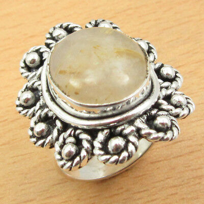 925 Silver Plated Natural GOLDEN RUTILE QURTZ & Other Gemstones OLD STYLE Ring