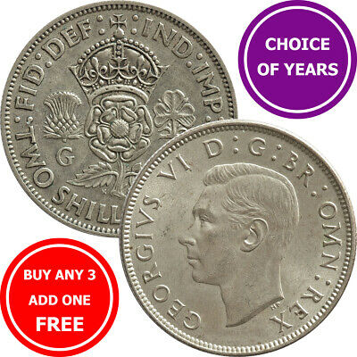 Florin : 1937-1951 : George VI : Two Shilling Coin : Choose Year