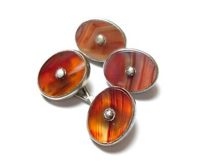 Beautiful Pair Of Old Antique Victorian Silver & Red Agate Cufflinks Links (A10)