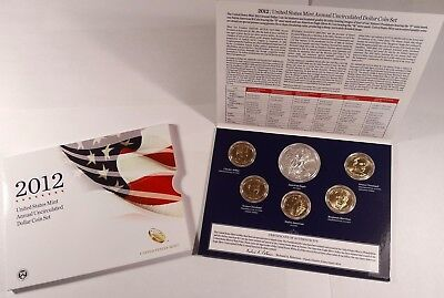 2012 ANNUAL UNCIRCULATED DOLLAR COIN SET  with SILVER AMERICAN EAGLE $1 COIN