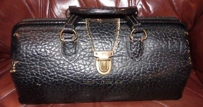 Vintage Lilly Leather & Brass Doctor Bag Antique Old Doctors Nurse Physician GC