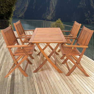 "Salon de jardin ""Sydney"" 5 pcs en bois d'acacia ensemble table et chaise pliable"