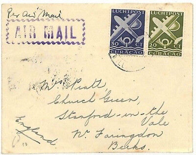 AD56 1940s Netherlands Colonies CURACAO Airmail Issues 50c Rate Cover Faringdon