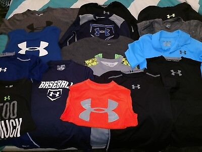 Boys Under Armour shirts Lot. Size Sm and Med. Used but in excellent condition.