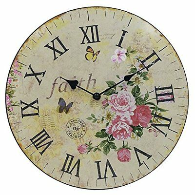 """Silent Round Wall Clocks 12""""Decorative Vintage Country French Style Wooden Clock"""