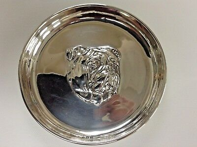 Antique S/S Round Dish with Embossed Bulldog Head by Birm Maker Sydney & Co 1910