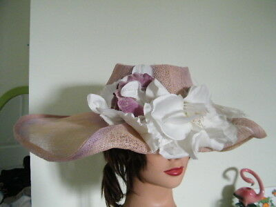 """JENNIFER CIRCELLI millinery 5"""" ROLLED BRIM TRIM 1940'S NATURAL FLOWER & FEATHERS"""