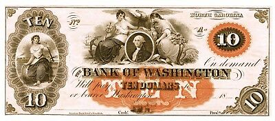 $10 Bank of Washington, North Carolina, remainder note, clean and crisp