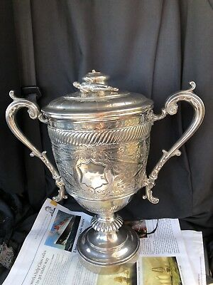 Large Silver Plated Presentation Double Handled Cup Football Trophy