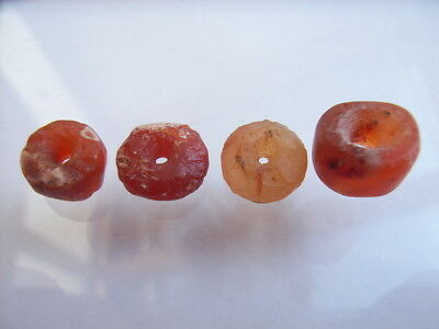 4 Ancient Neolithic Carnelian Beads, Stone Age, VERY RARE! TOP!