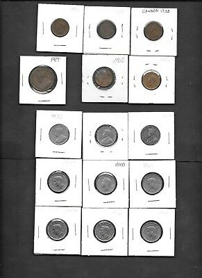 Canada Lot of 15 Old Circulated Coins - Great Bunch !
