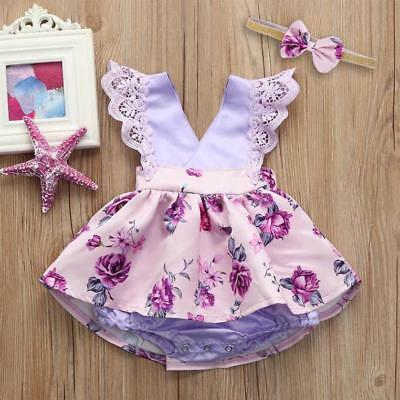 Infant Baby Gilrs Kids Floral Sleeveless Ruched Romper Jumpsuit Headband Ouifit