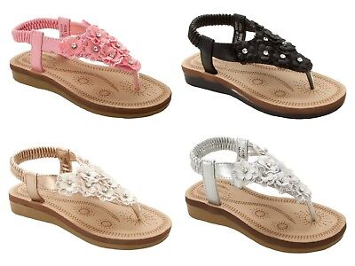 GIRLS RED DIAMANTE WEDGE CASUAL HOLIDAY SUMMER BEACH SANDALS SHOES UK SIZE 11-2
