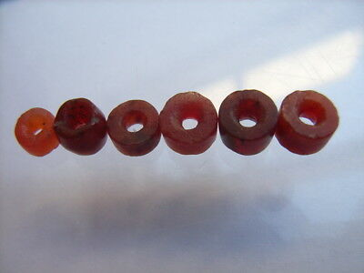 6 Ancient Neolithic Carnelian Beads, Stone Age, VERY RARE!  TOP !